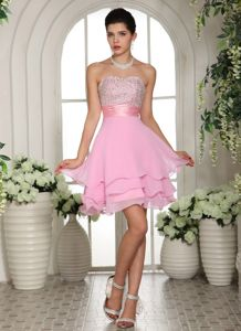 Sweetheart A-line Beaded Baby Pink Natural Beauty Pageants Dress with Ruffled Layers