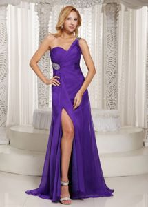 Beaded and Ruched High Slit One Shoulder Purple Pageant Dress Patterns With Brush Train