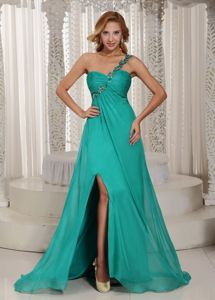 Turquoise One Shoulder High Slit Ruched Pageant Dresses For Miss USA With Beading