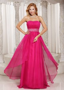 2013 Long Column Strapless Pageant Girl Dresses in Hot Pink with Beading and Ruching
