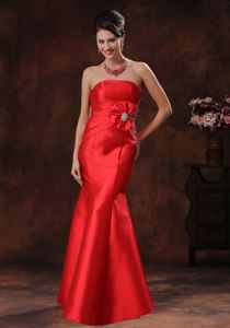 Strapless Red Mermaid Pageant Dresses For Miss America with Ruching and Beading