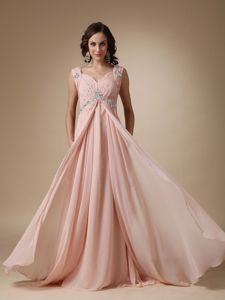 Baby Pink Empire Straps Court Train Pageant Dress Patterns with Floor-length in Newcastle