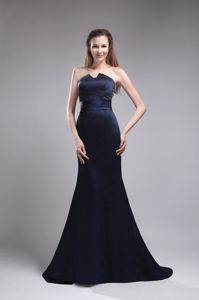 Mermaid Strapless Brush Train Beaded Navy Blue Beauty Pageant Dresses in Summer