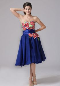 Ruched Blue Appliques Decorated Sweetheart Tea-length Hamilton, Ontario in Cambridge