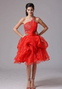 A-line One Shoulder Beading Decorated Bust Red Youth Pageant Dresses in Edmonton