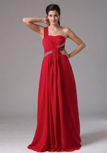 Red One Shoulder Floor-length Natural Beauty Pageants Dress with Beading and Ruche