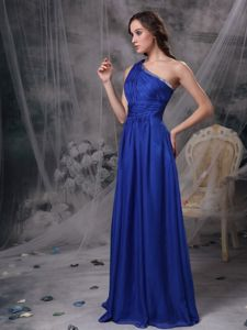 One Shoulder Floor-length Ruched Youth Pageant Dresses in Royal Blue in Manchester