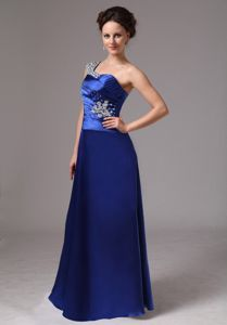 Royal Blue Beaded One Shoulder Ruched Miss Universe Pageant Dress with Floor-length