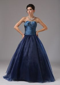 Beading Decorated A-line Blue Strapless Youth Pageant Dresses with Ruches in Navy Blue