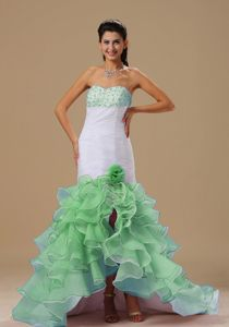 Mermaid Beaded Handmade Flowery White and Green Pageant Dresses with Ruffles
