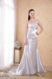Silver Strapless Court Train Satin Youth Pageant Dresses with Appliques and Ruches