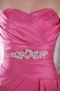 Rose Pink A-Line Sweetheart Court Train Beaded Interview Pageant Suits with Ruches