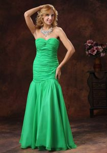 Green Mermaid Sweetheart Ruched Floor-length Dresses For Pageants In Nj in 2013