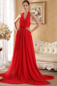 Red Halter Hand Made Flowers Glitz Pageant Dresses with Court Train