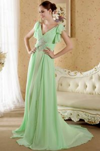 Apple Green V-neck Beaded Pageant Dresses with Court Train in Newport