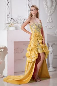 Yellow Sweetheart High-low Beaded Pageant Dress with Hand Made Flowers