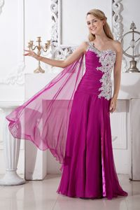 Fuchsia One Shoulder Appliqued Girl Pageant Dresses in Chiffon in Easton