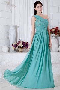 Turquoise One Shoulder Chiffon Pageant Dresses with Appliques in Reading