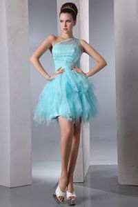 Aqua Blue One Shoulder Organza Pageant Dresses with Beading in Salem