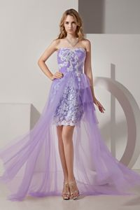 Lilac High-low Pageant Girl Dresses with White Appliques in Saint George