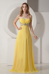 Yellow Sweetheart Chiffon Pageant Dresses For Girls with Silver Beading