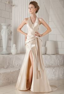 Halter Satin Beauty Pageant Dresses with Court Train in Champagne in Katy