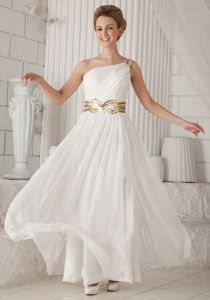 White One Shoulder Floor-length Pageant Dress with Sequins in Houston