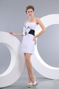 White Strapless Taffeta Girl Pageant Dresses with Bowknot in Carrollton