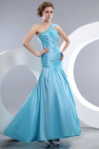 Aqua Blue Mermaid One Shoulder Pageant Dresses with Ruches in Bryan