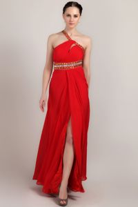 Red One Shoulder Ankle-length Girl Pageant Dress with Beading in Garland