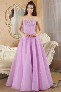 Sweetheart Organza Lavender Beauty Pageant Dress with Beading in Denton