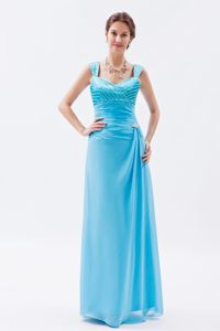 Straps Floor-length Chiffon Beaded Girl Pageant Dresses in Baby Blue