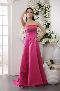 Hot Pink Strapless Brush Train Pageant Dress with Beading in Hot Pink