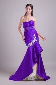 Mermaid Brush Train Pageant Dress with Beading in Purple in Galveston