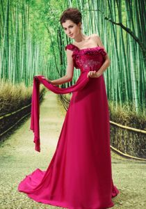 Chiffon One Shoulder Embroidered Pageant Dress with Watteau Train
