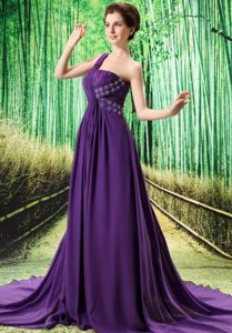 Purple One Shoulder Ruched Beaded Interview Pageant Suits in Dallas