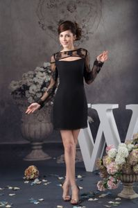 Black Chiffon Lace Pageant Dresses For Girls with Long Sleeves in Clemson