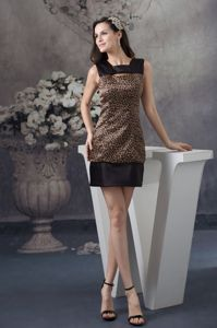 Leopard Printed Satin Pageant Girl Dresses in Brown and Black in Dayton