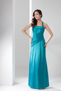 Ruched Halter Top Ankle-length Glitz Pageant Dress in Turquoise in Durham