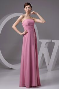 Rose Pink Chiffon Strapless Dresses For Pageants In Nj in Asheville