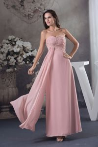 Sweetheart Pink Long Pageant Dresses For Girls with Beading in Trenton