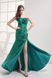 Strapless Ruched Hand Made Flower Pageant Dress with High slit in Marlton