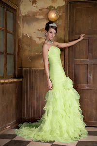Mermaid Ruffled Yellow Green Pageant Dress with Hand Made Flower