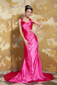 Hot Pink V-neck Taffeta Beaded Girl Pageant Dress with Court Train