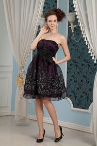 Strapless Organza Embroidered Knee-length Pageant Dresses in Black