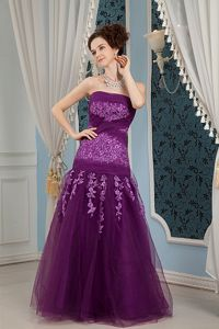 Purple Strapless Floor-length Tulle Pageant Dresses with Embroidery