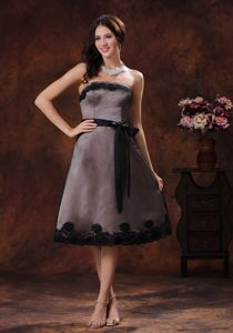 Black Tea-length Strapless Interview Pageant Suits with Sash in Holland