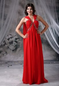 Beaded Red Chiffon Halter Pageant Girl Dress with Watteau Train in Woburn