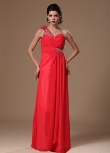 One Shoulder Chiffon Beaded Pageant Dresses in Coral Red in Peabody