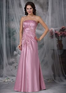 Strapless Floor-length Appliqued Beauty Pageant Dresses in Rose Pink